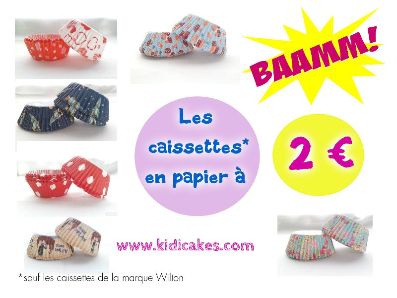 Caissette cupcake 60, 75 ou 100 caissettes 2€ idéal cupcake,muffin disponible Kidicakes