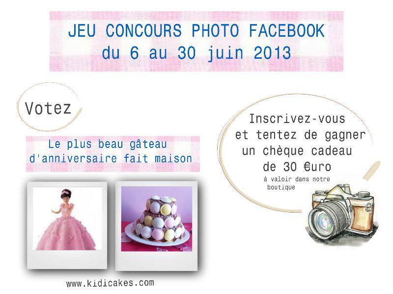 Jeu concours photo gâteau anniversaire fait maison https://www.facebook.com/Kidicakes