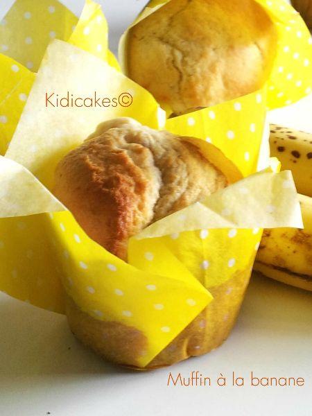 Muffin banane cuisson caissette tulipe jaune. Recette des muffins à la banane simple,rapide et gourmande pour les mamans préssées. Cuisson dans les caissetets tulipes jaunes Kidicakes