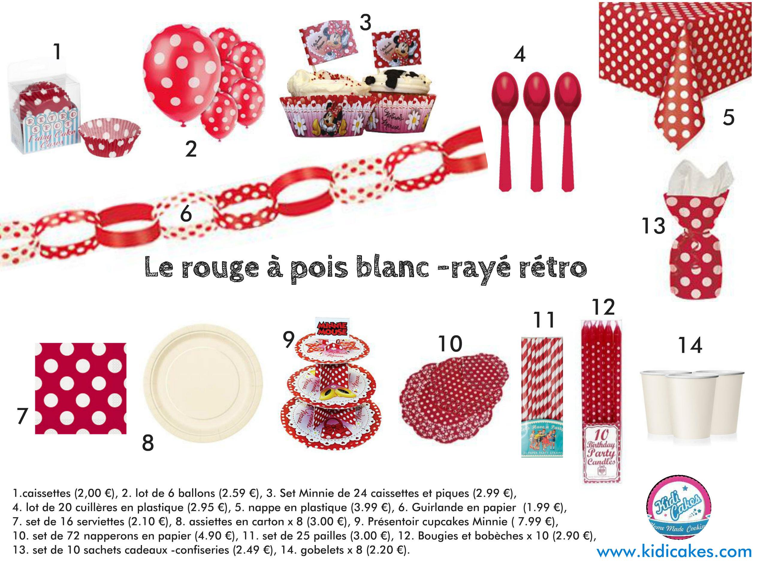 D co de table rouge pois blanc for Decoration de table rouge et blanc