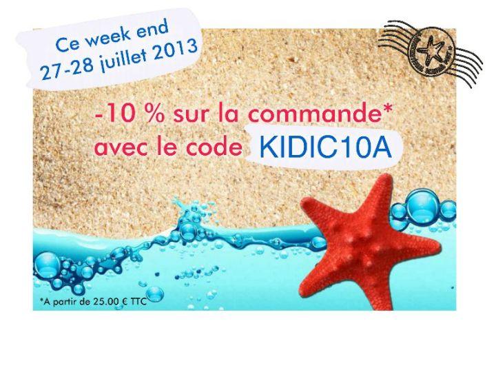 Week end promo code promo Kidicakes et soldes -10 % sur la commande boutique Kidicakes,code promo Kidicakes, code promo valable du 27 et 28 juillet 2013