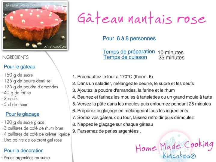 Recette de gâteau nanatais rose recett proposé par Kidicakes. Gâteau nantais rose