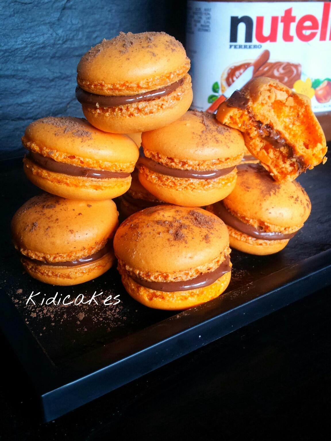 Recette de macaron aunutella pour halloween recette simple à réaliser macaron orange avec ganache au nutella