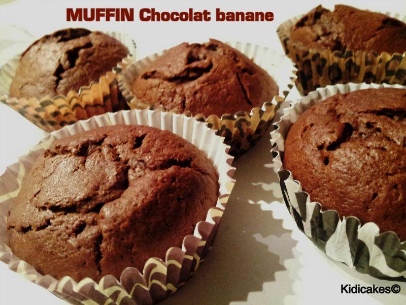 Recette de muffin chocolat banane. Cette recette permet e réaliser 12 mffins au chocolat banane. Recette proposé par Kidicakes