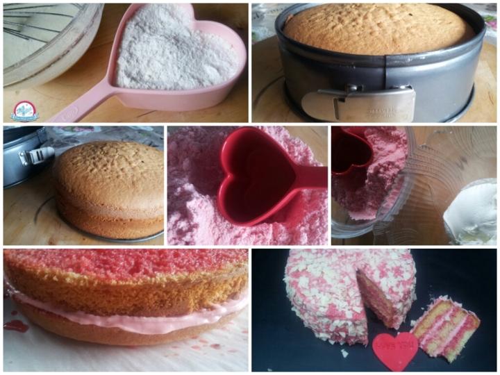 Gâteau Saint Valentin, suprenez votre valentin !!!!  Voici une recette de gâteau Saint Valentin succulent et  idéal pour la Saint Valentin. Notre gâteau de la Saint Valentin est un gâteau haut fourré et recouvert  à la crème aux pralines roses/framboises et aux copeaux de chocolat blanc. Découvrez vite notre recette.