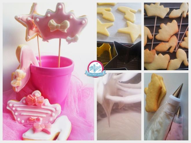 Biscuits de princesse, une recette à faire sans hésiter pour votre princesse. Idéal pour une sweet table sur le thème de princesse. Les biscuits princesse sont décorés avec un glaçage royal et des décors en pâte à sucre. Etape par étape, de la réalisation des biscuits à la décoration avec la pâte à sucre.
