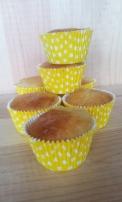Muffin au citron caissette jaune à pois blanc, caissette à pois utilisé pour la recette muffin au citron. Caissette jaune à pois revêtement renforcé