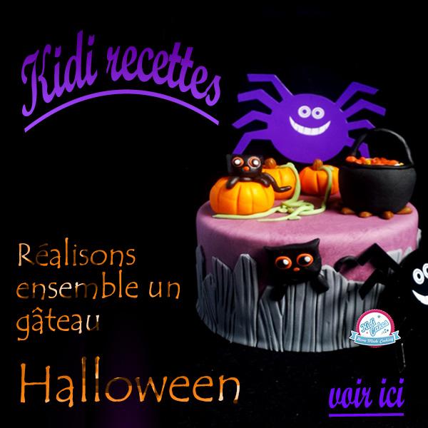 Gâteau Halloween décoré avec de la pâte à sucre, avec ce gâteau Halloween elle étonnera vos convives; cette recette de gâteau est proposé par Kidicakes. Retrouvez nos recettes pour Halloween