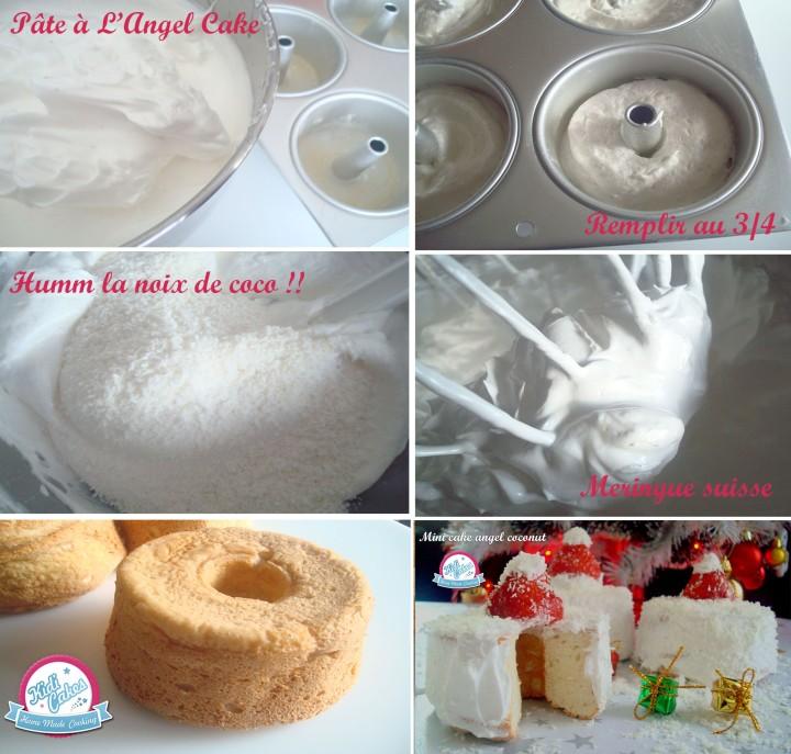 Recette du cake angel avec sans noix de coco. L'angel cake est  un gâteau aérien doux au bon parfum  à la noix de coco, ce gâteau est parfait pour les fêtes